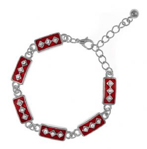 Stylish Red Enamel & Cubic Zirconia Rectangular Shaped Fashion Bracelet - Ideal Gift Idea